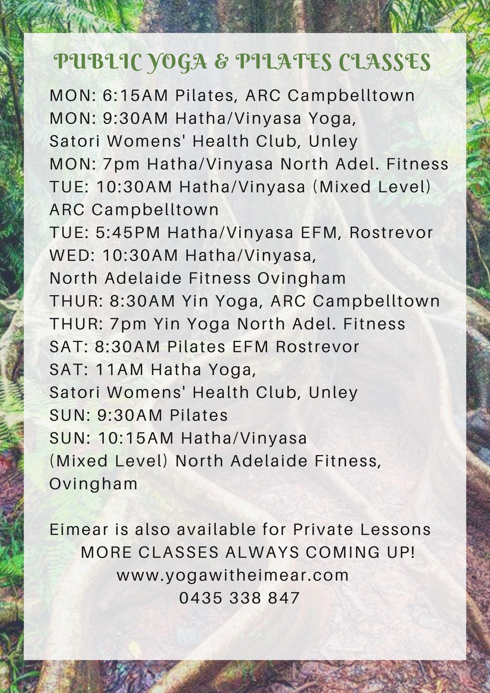 Yoga classes with Eimear