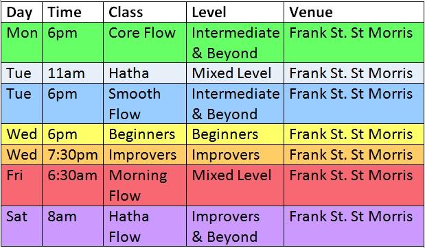 YWE Yoga Classes Adelaide Timetable