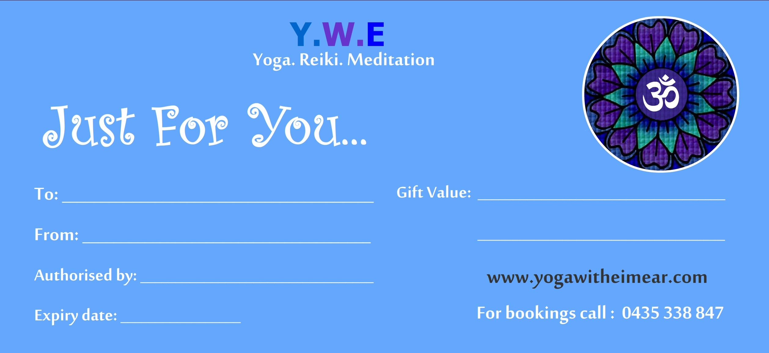 Adelaide Gift Voucher Yoga, Reiki, meditation