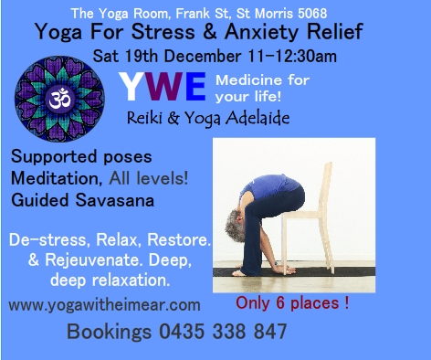 Yoga for stress and anxiety Adelaide. YWE Yoga